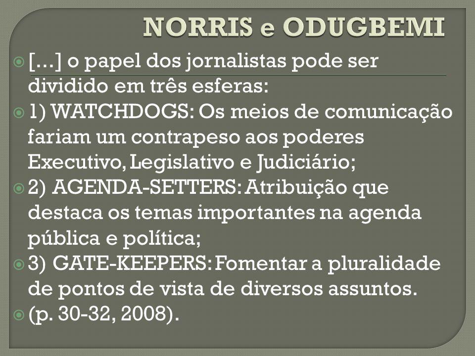 [...] o papel dos jornalistas pode ser dividido em três esferas: 1) WATCHDOGS: Os meios de comunicação fariam um contrapeso aos poderes Executivo, Leg