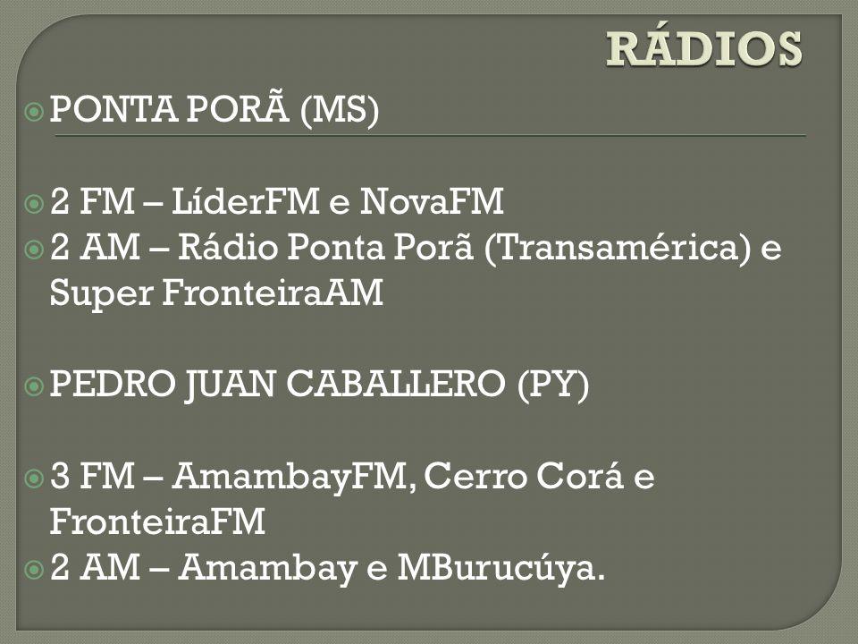 PONTA PORÃ (MS) 2 FM – LíderFM e NovaFM 2 AM – Rádio Ponta Porã (Transamérica) e Super FronteiraAM PEDRO JUAN CABALLERO (PY) 3 FM – AmambayFM, Cerro C