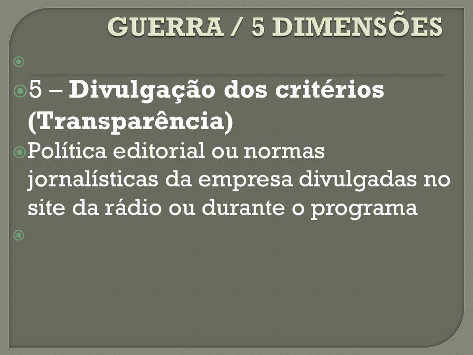 5 – Divulgação dos critérios (Transparência) Política editorial ou normas jornalísticas da empresa divulgadas no site da rádio ou durante o programa
