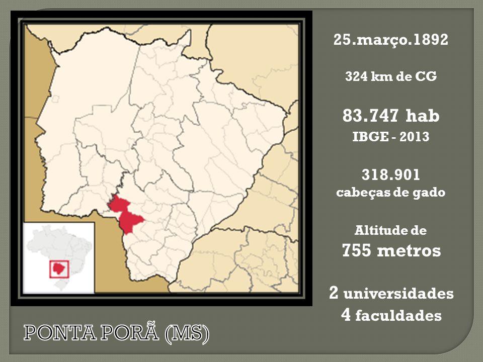 25.março.1892 324 km de CG 83.747 hab IBGE - 2013 318.901 cabeças de gado Altitude de 755 metros 2 universidades 4 faculdades
