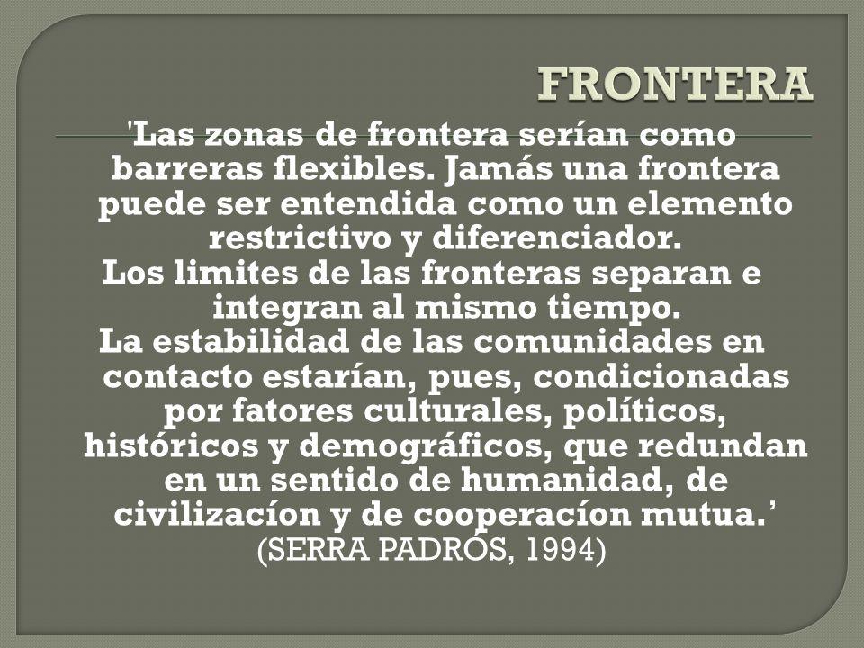 'Las zonas de frontera serían como barreras flexibles. Jamás una frontera puede ser entendida como un elemento restrictivo y diferenciador. Los limite