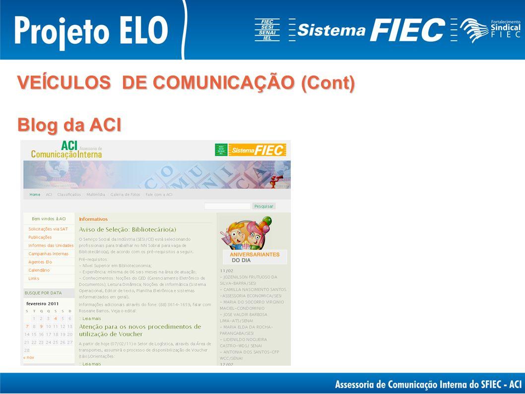 VEÍCULOS DE COMUNICAÇÃO (Cont) Blog da ACI