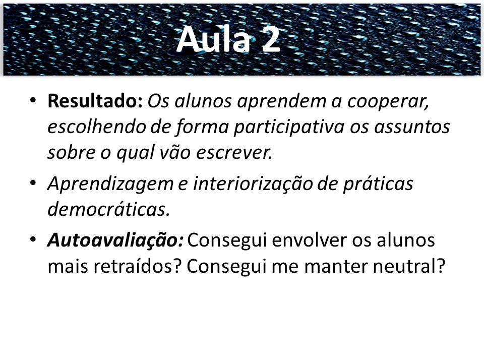 Resultado: Os alunos aprendem a cooperar, escolhendo de forma participativa os assuntos sobre o qual vão escrever. Aprendizagem e interiorização de pr
