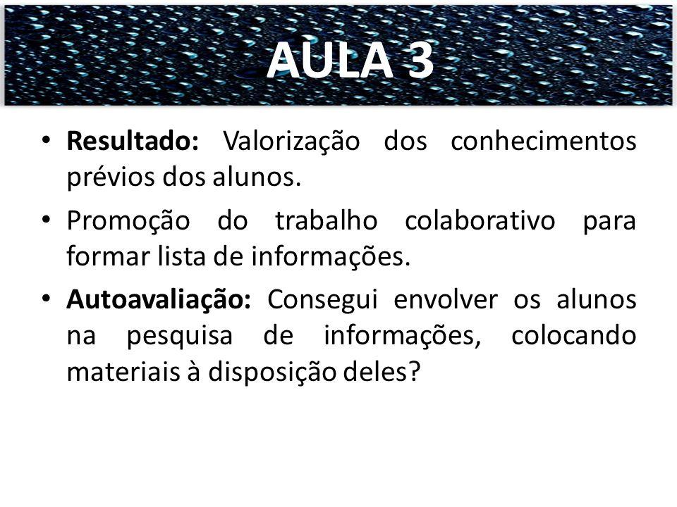 Resultado: Valorização dos conhecimentos prévios dos alunos. Promoção do trabalho colaborativo para formar lista de informações. Autoavaliação: Conseg