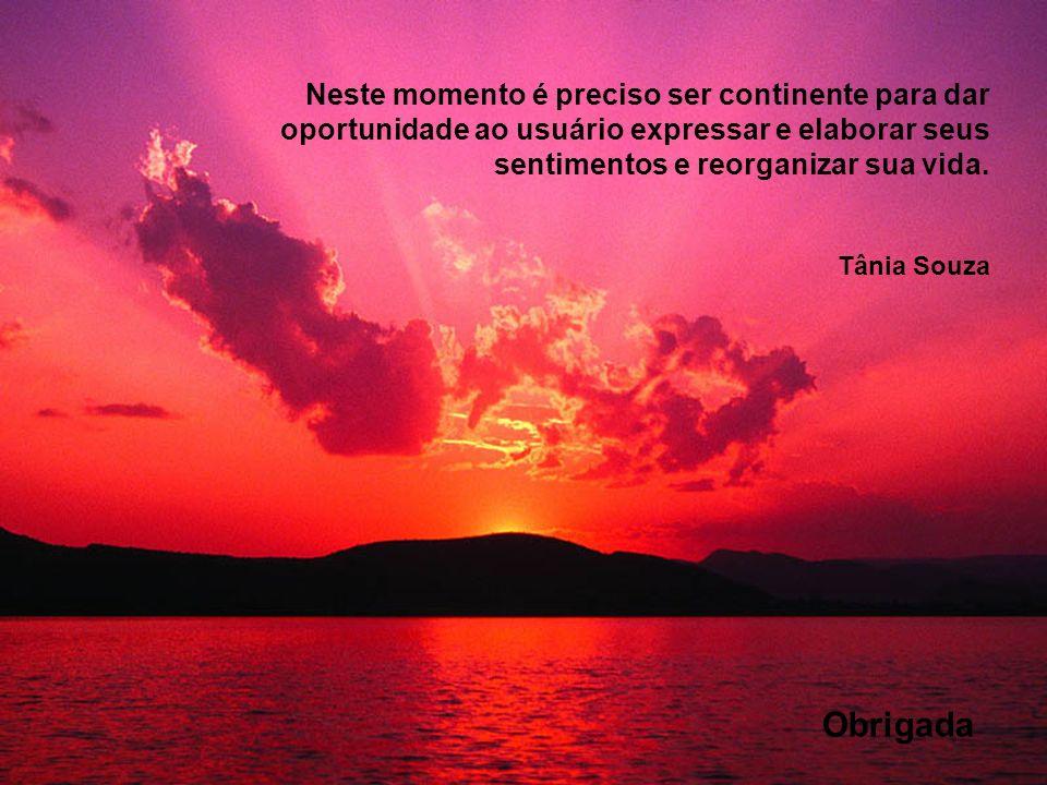 Neste momento é preciso ser continente para dar oportunidade ao usuário expressar e elaborar seus sentimentos e reorganizar sua vida. Tânia Souza Obri
