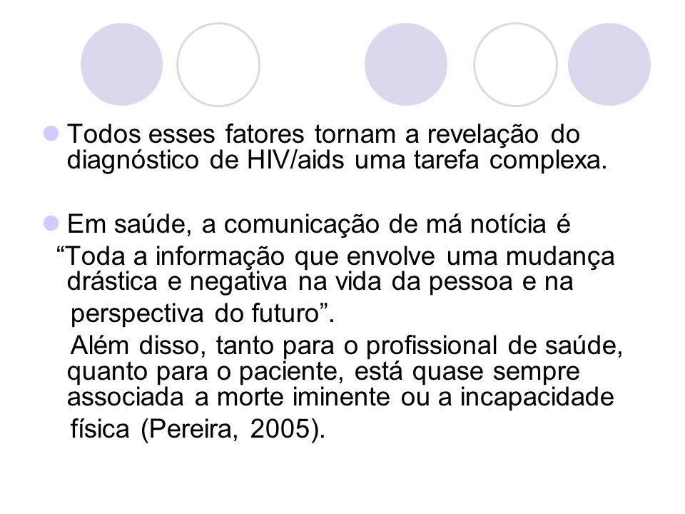 Todos esses fatores tornam a revelação do diagnóstico de HIV/aids uma tarefa complexa. Em saúde, a comunicação de má notícia é Toda a informação que e