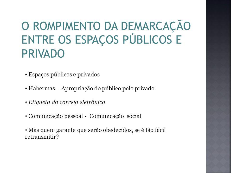 O ROMPIMENTO DA DEMARCAÇÃO ENTRE OS ESPAÇOS PÚBLICOS E PRIVADO Espaços públicos e privados Habermas - Apropriação do público pelo privado Etiqueta do