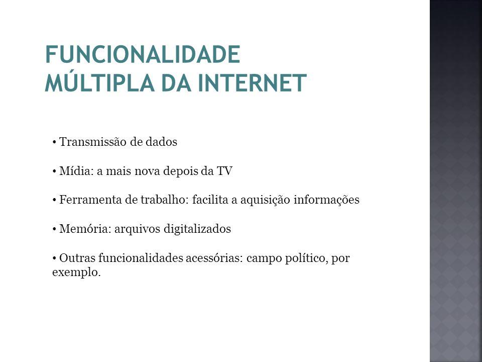 FUNCIONALIDADE MÚLTIPLA DA INTERNET Transmissão de dados Mídia: a mais nova depois da TV Ferramenta de trabalho: facilita a aquisição informações Memó
