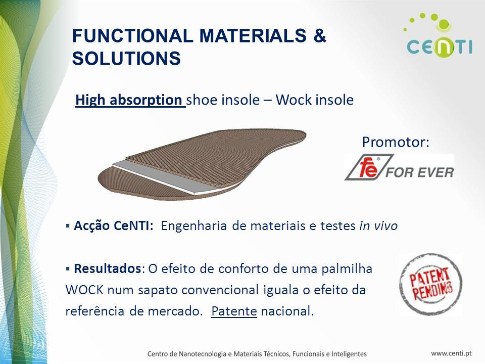 FUNCTIONAL MATERIALS & SOLUTIONS High absorption shoe insole – Wock insole Acção CeNTI: Engenharia de materiais e testes in vivo Resultados: O efeito