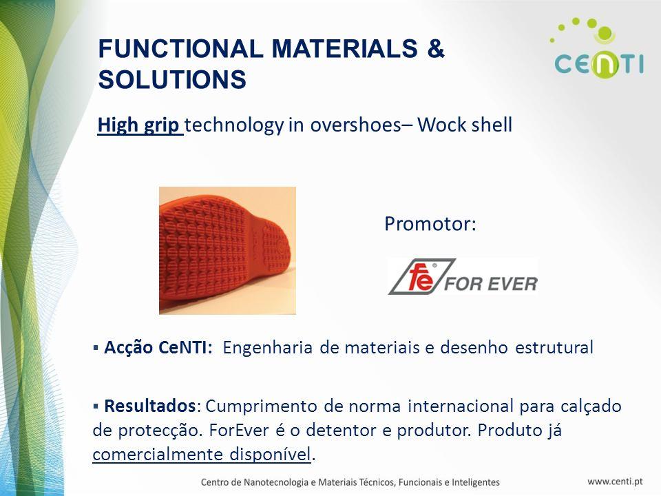 High grip technology in overshoes– Wock shell Promotor: FUNCTIONAL MATERIALS & SOLUTIONS Acção CeNTI: Engenharia de materiais e desenho estrutural Res