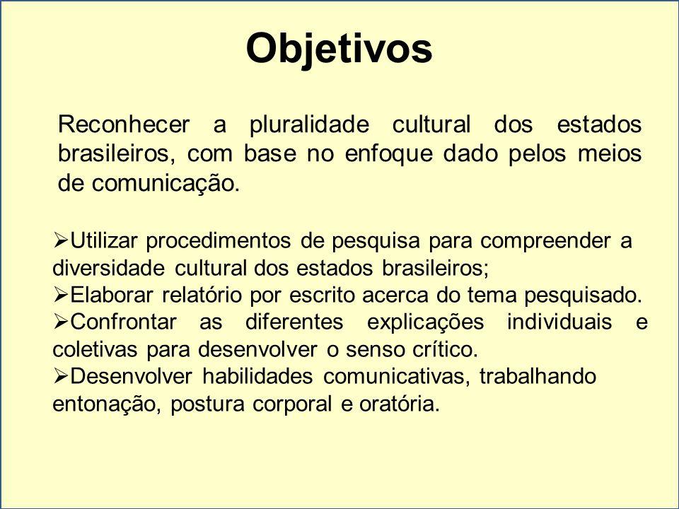 Objetivos Reconhecer a pluralidade cultural dos estados brasileiros, com base no enfoque dado pelos meios de comunicação. Utilizar procedimentos de pe