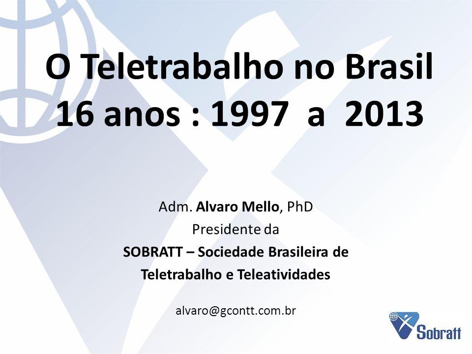 O Teletrabalho no Brasil 16 anos : 1997 a 2013 Adm. Alvaro Mello, PhD Presidente da SOBRATT – Sociedade Brasileira de Teletrabalho e Teleatividades al