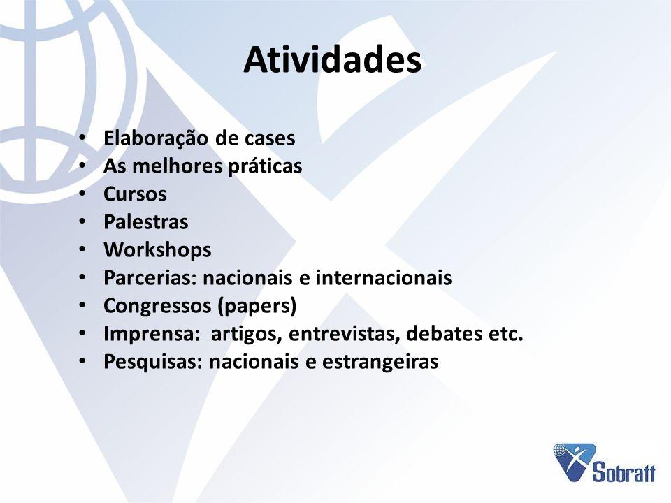 Atividades Elaboração de cases As melhores práticas Cursos Palestras Workshops Parcerias: nacionais e internacionais Congressos (papers) Imprensa: art