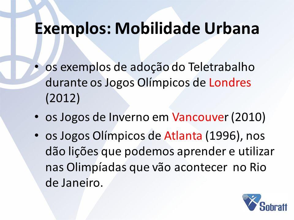 Exemplos: Mobilidade Urbana os exemplos de adoção do Teletrabalho durante os Jogos Olímpicos de Londres (2012) os Jogos de Inverno em Vancouver (2010)