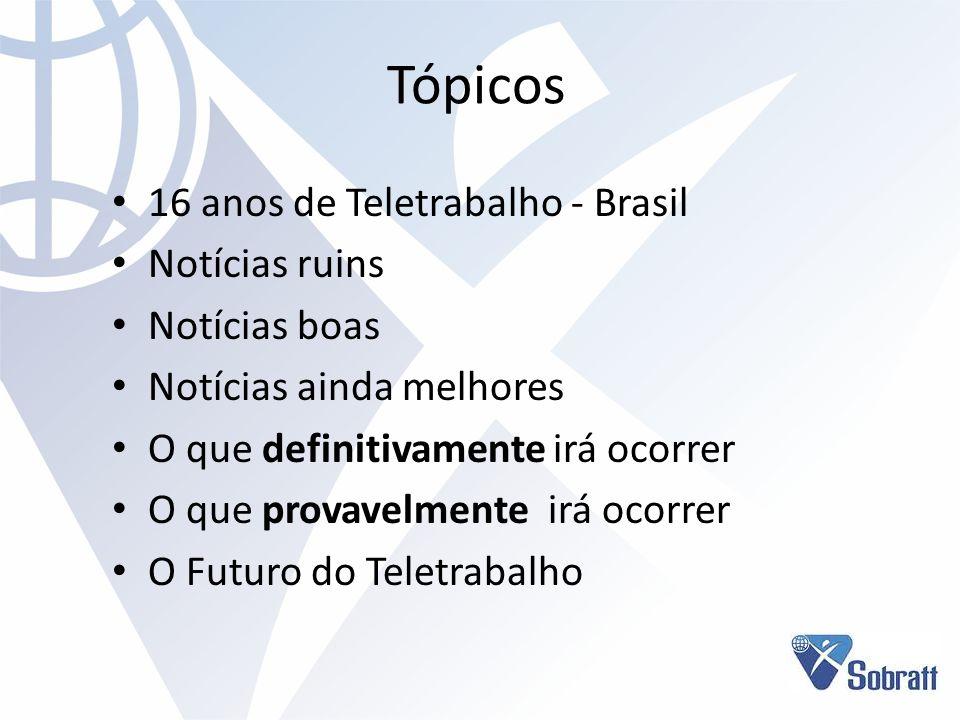 Tópicos 16 anos de Teletrabalho - Brasil Notícias ruins Notícias boas Notícias ainda melhores O que definitivamente irá ocorrer O que provavelmente ir