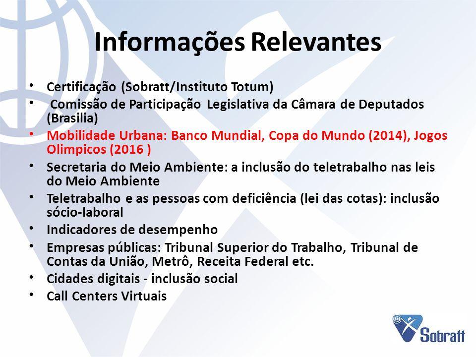 Informações Relevantes Certificação (Sobratt/Instituto Totum) Comissão de Participação Legislativa da Câmara de Deputados (Brasilia) Mobilidade Urbana