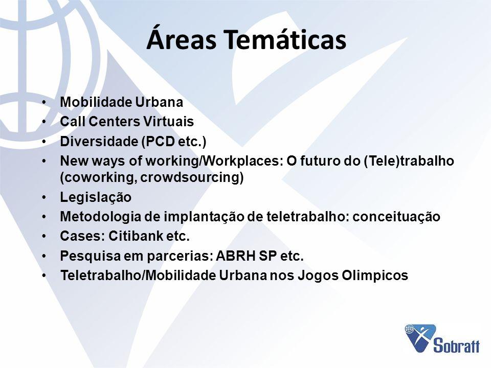 Áreas Temáticas Mobilidade Urbana Call Centers Virtuais Diversidade (PCD etc.) New ways of working/Workplaces: O futuro do (Tele)trabalho (coworking,