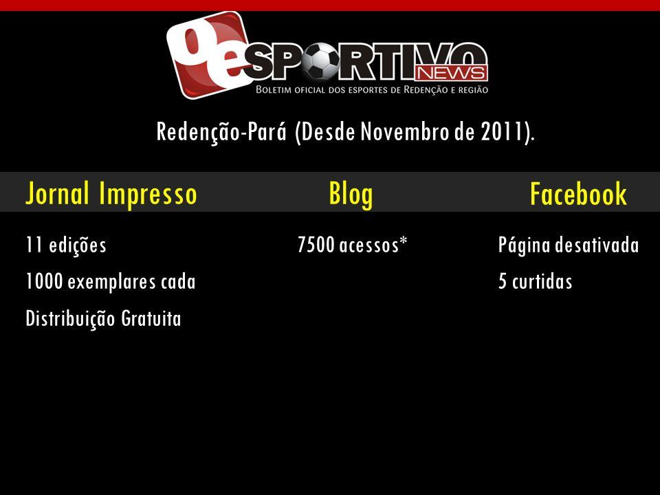 Jornal ImpressoBlog Redenção-Pará (Desde Novembro de 2011). Facebook 11 edições 1000 exemplares cada Distribuição Gratuita 7500 acessos* Página desati