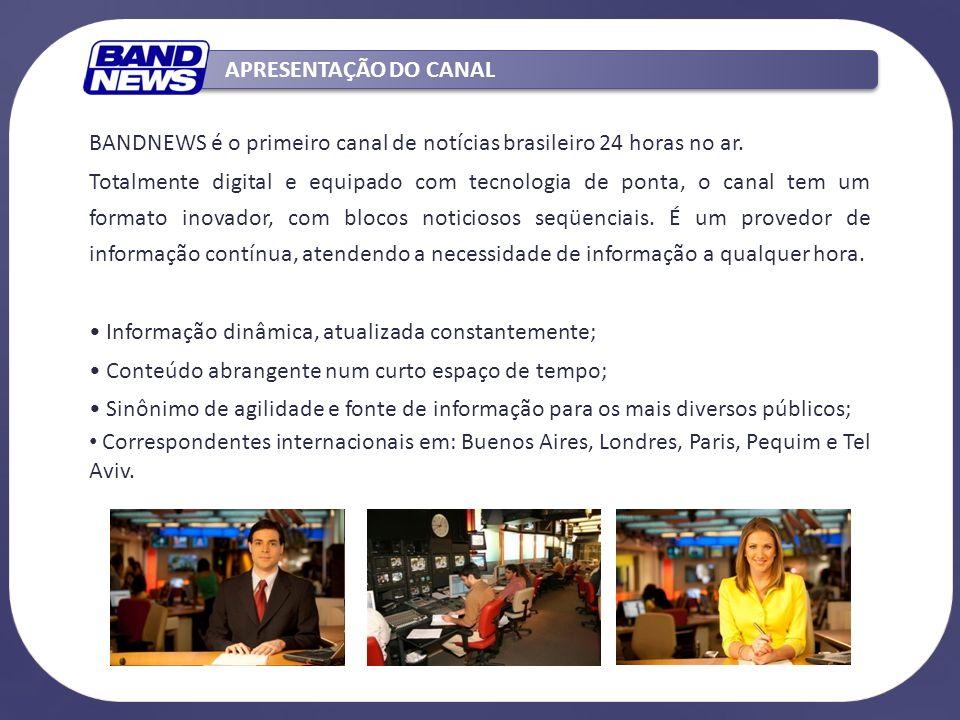 BANDNEWS é o primeiro canal de notícias brasileiro 24 horas no ar. Totalmente digital e equipado com tecnologia de ponta, o canal tem um formato inova