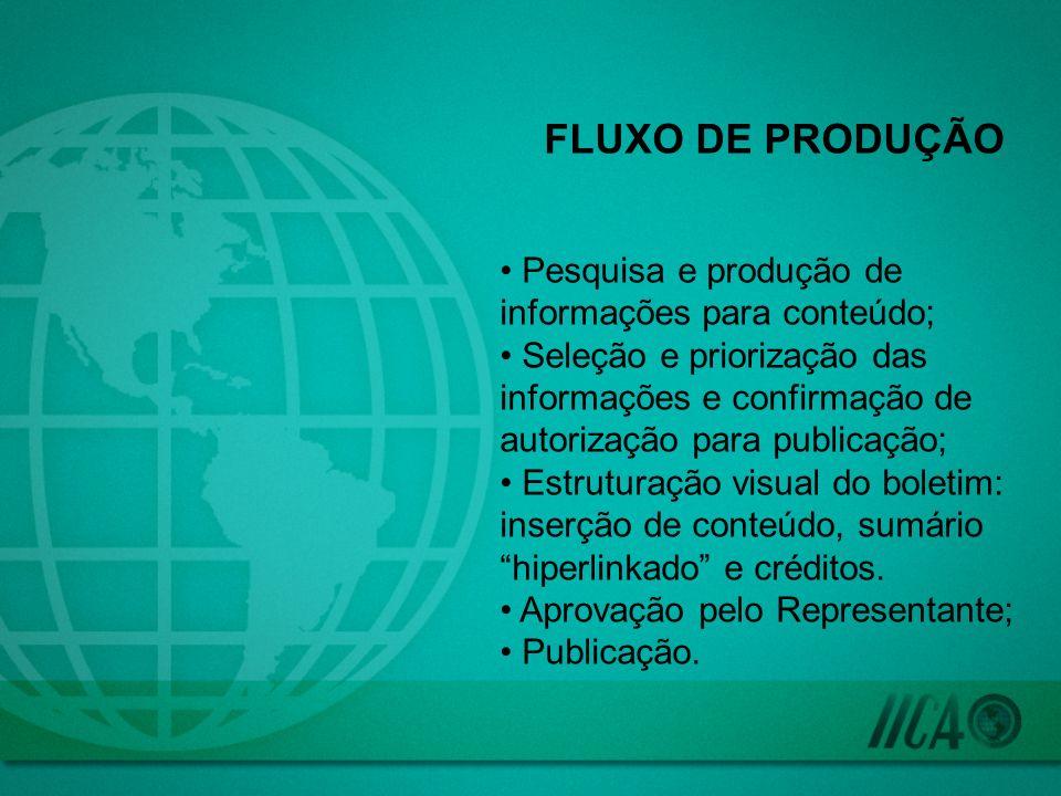 FLUXO DE PRODUÇÃO Pesquisa e produção de informações para conteúdo; Seleção e priorização das informações e confirmação de autorização para publicação