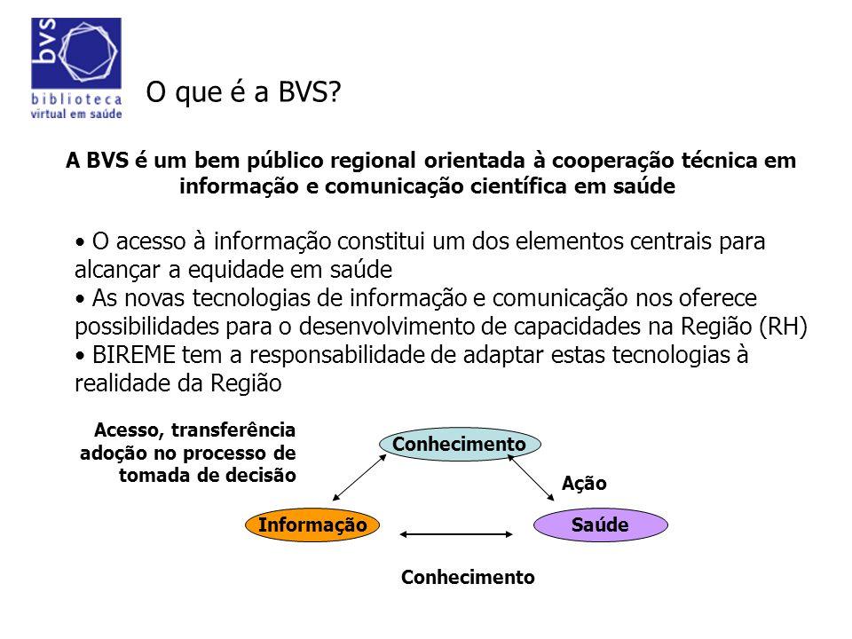 BVS 10 anos A Biblioteca Virtual em Saúde de desenvolve como estratégia modelo marco operacional A BVS é um bem público regional orientada à cooperação técnica em informação e comunicação científica em saúde BIREME/OPAS/OMS
