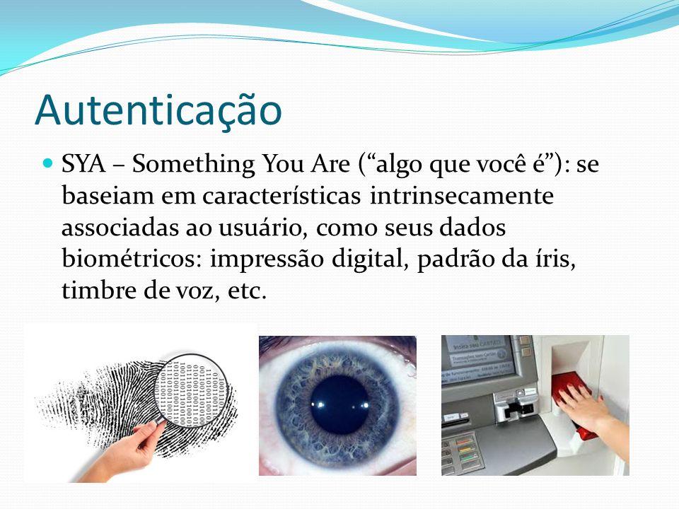 Autenticação SYA – Something You Are (algo que você é): se baseiam em características intrinsecamente associadas ao usuário, como seus dados biométric