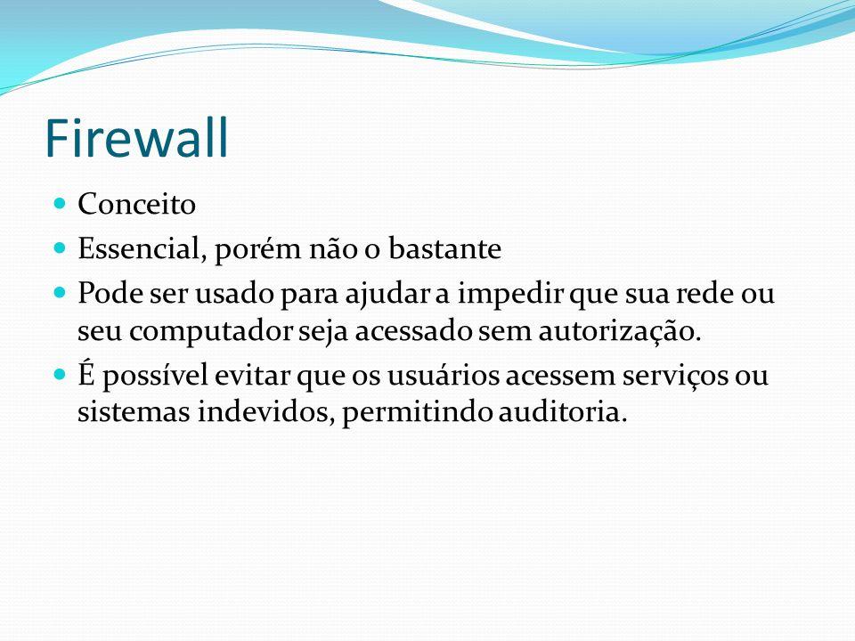 Firewall Conceito Essencial, porém não o bastante Pode ser usado para ajudar a impedir que sua rede ou seu computador seja acessado sem autorização. É