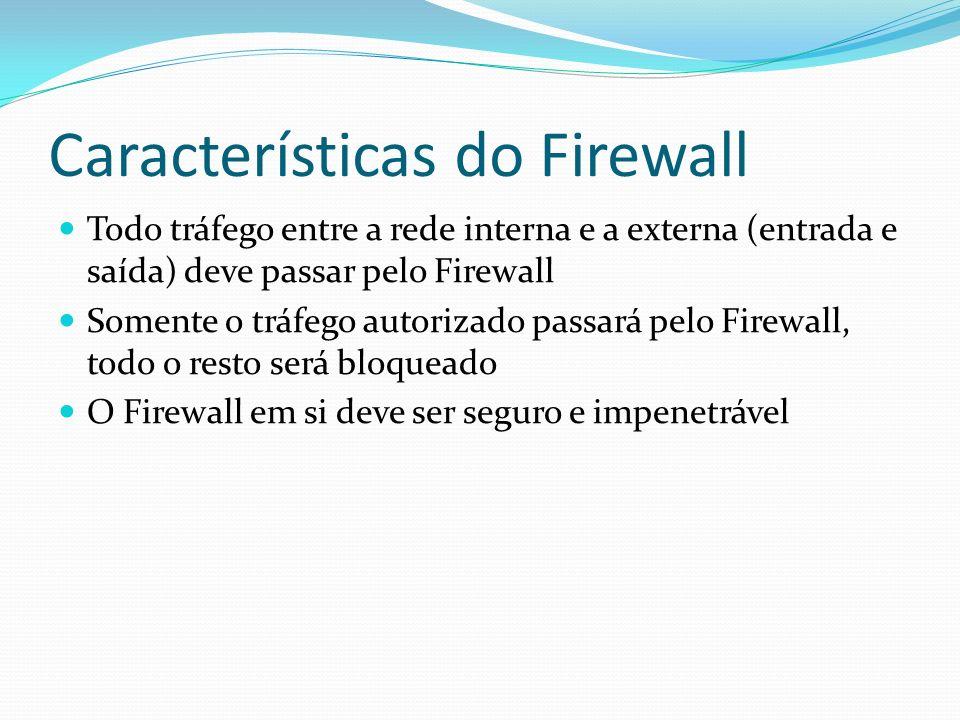 Características do Firewall Todo tráfego entre a rede interna e a externa (entrada e saída) deve passar pelo Firewall Somente o tráfego autorizado pas