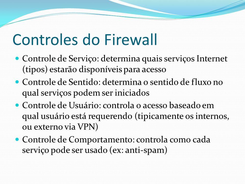 Controles do Firewall Controle de Serviço: determina quais serviços Internet (tipos) estarão disponíveis para acesso Controle de Sentido: determina o