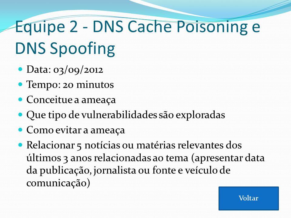 Equipe 2 - DNS Cache Poisoning e DNS Spoofing Data: 03/09/2012 Tempo: 20 minutos Conceitue a ameaça Que tipo de vulnerabilidades são exploradas Como e