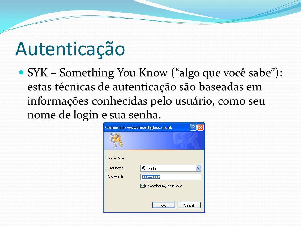 Autenticação SYK – Something You Know (algo que você sabe): estas técnicas de autenticação são baseadas em informações conhecidas pelo usuário, como s