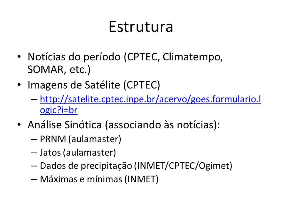 Estrutura Notícias do período (CPTEC, Climatempo, SOMAR, etc.) Imagens de Satélite (CPTEC) – http://satelite.cptec.inpe.br/acervo/goes.formulario.l og