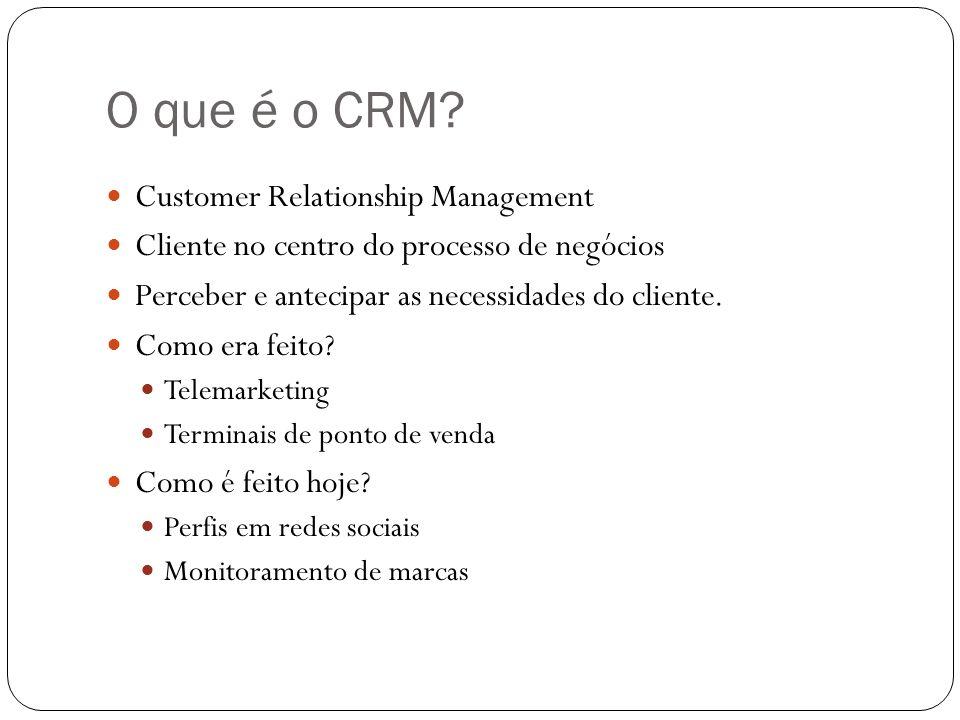 O que é o CRM? Customer Relationship Management Cliente no centro do processo de negócios Perceber e antecipar as necessidades do cliente. Como era fe