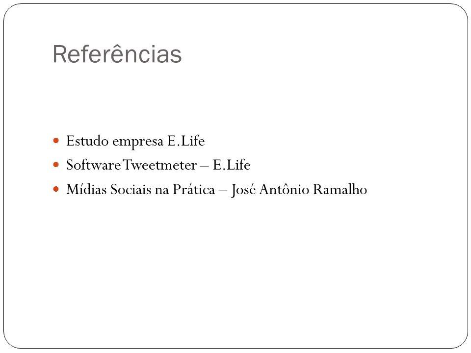 Referências Estudo empresa E.Life Software Tweetmeter – E.Life Mídias Sociais na Prática – José Antônio Ramalho