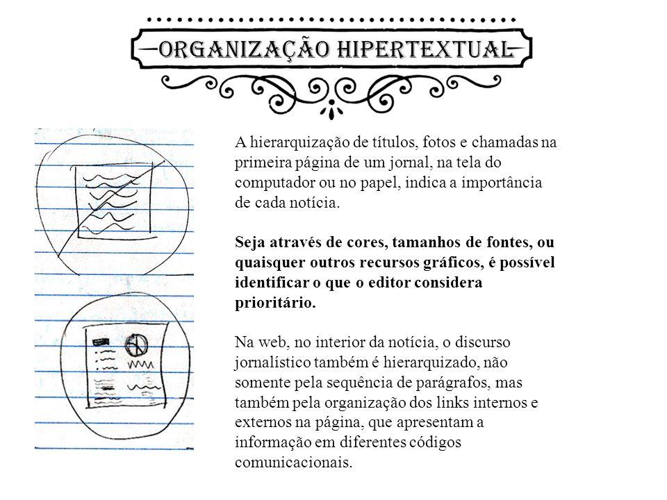 A hierarquização de títulos, fotos e chamadas na primeira página de um jornal, na tela do computador ou no papel, indica a importância de cada notícia.