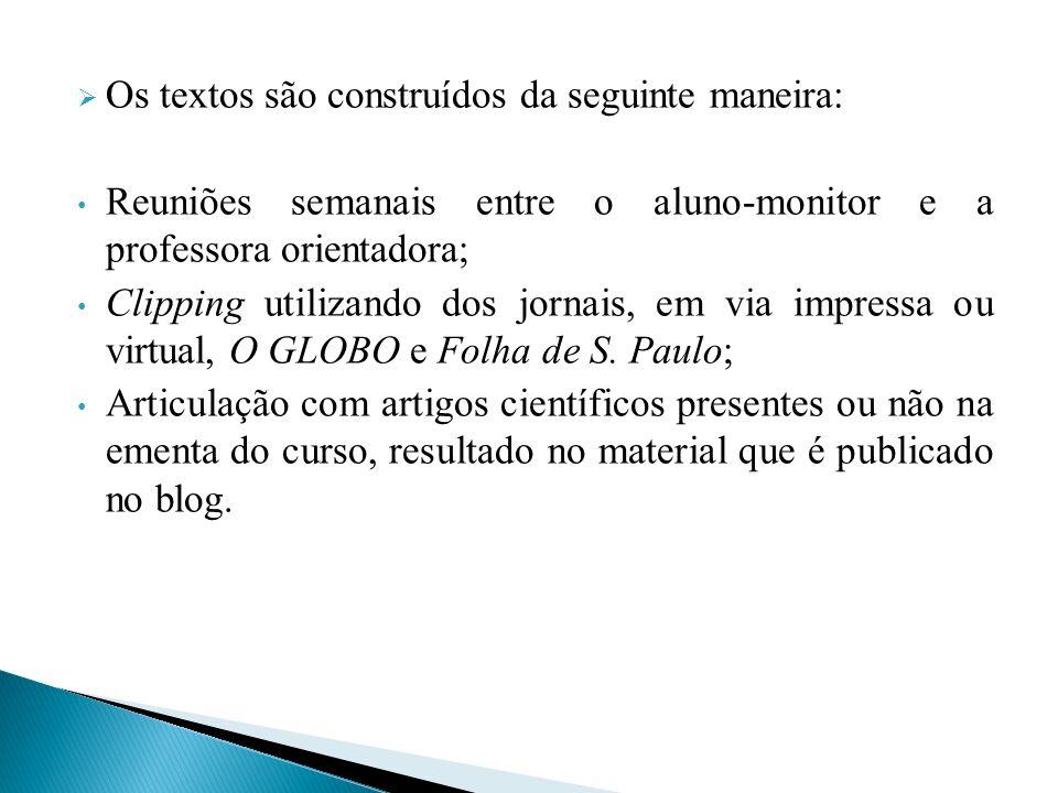 Os textos são construídos da seguinte maneira: Reuniões semanais entre o aluno-monitor e a professora orientadora; Clipping utilizando dos jornais, em via impressa ou virtual, O GLOBO e Folha de S.