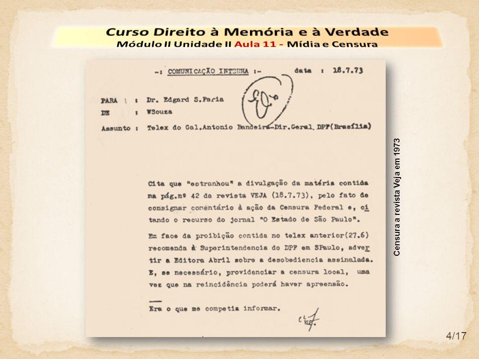 15/17 Em 1975, com a remoção da censura ao jornal O Estado de S.
