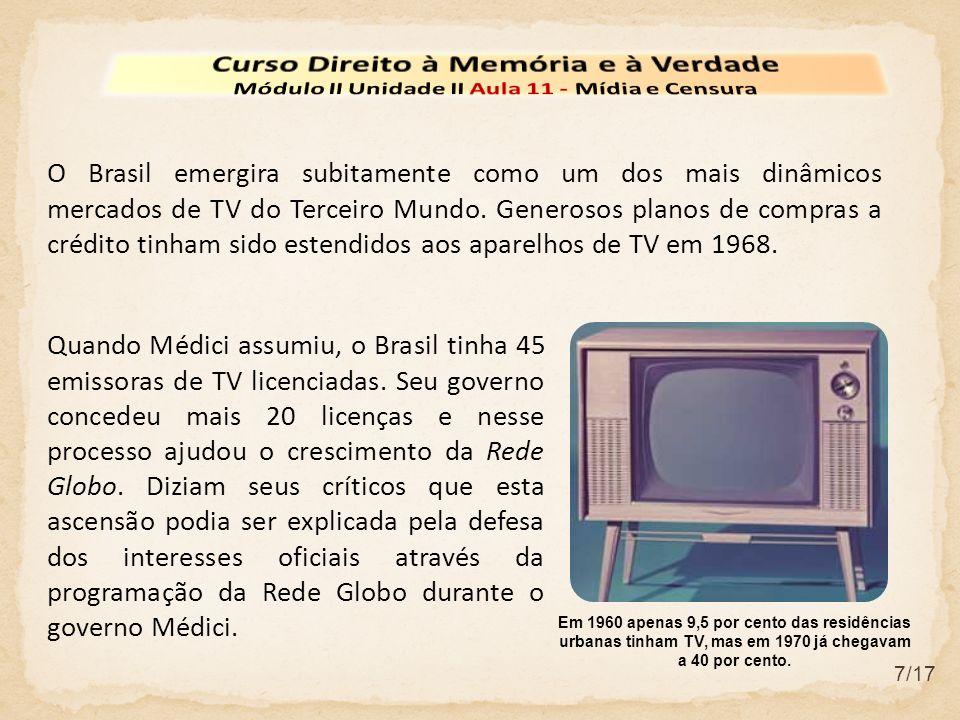 8/17 Uma das técnicas mais eficientes da AERP consistiu em associar futebol, música popular, presidente Médici e progresso brasileiro.