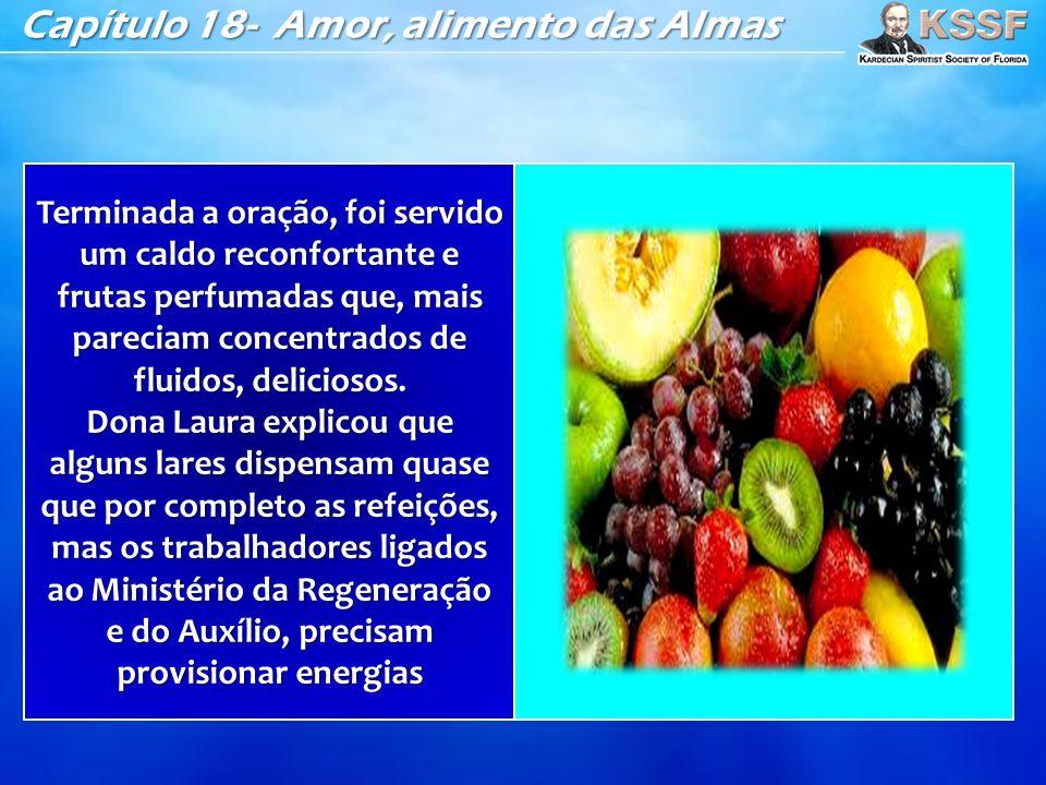 Capítulo 18- Amor, alimento das Almas Terminada a oração, foi servido um caldo reconfortante e frutas perfumadas que, mais pareciam concentrados de fluidos, deliciosos.