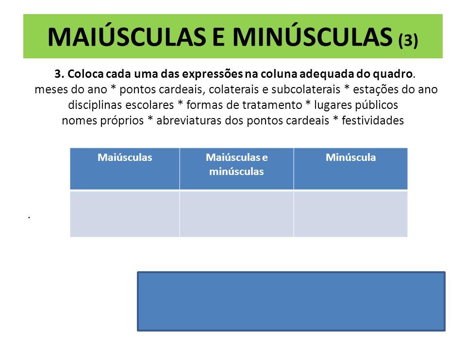 MAIÚSCULAS E MINÚSCULAS (2) 2. Assinala como verdadeiras (V) ou falsas (F) as afirmações que se seguem. A sigla Sociedade Portuguesa de autores escrev