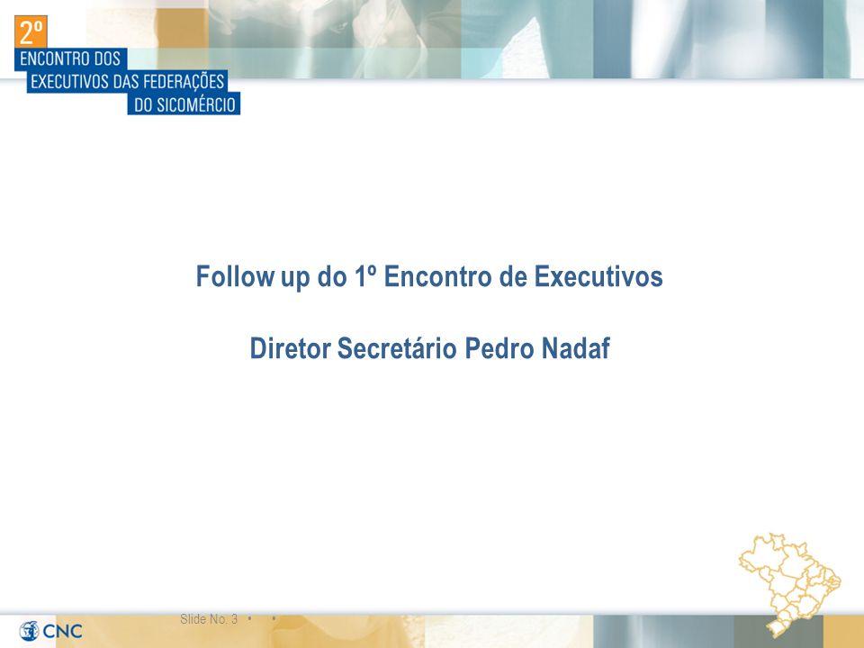 Follow up do 1º Encontro de Executivos Diretor Secretário Pedro Nadaf Slide No. 3