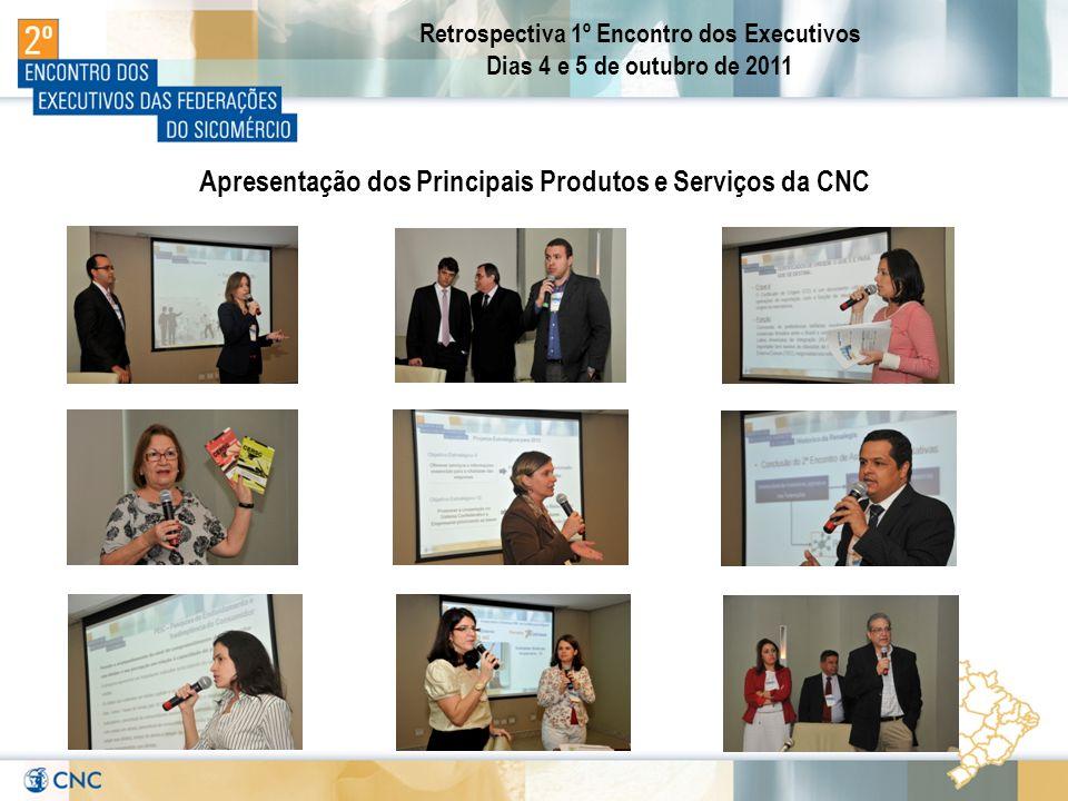 Retrospectiva 1º Encontro dos Executivos Dias 4 e 5 de outubro de 2011 Apresentação dos Principais Produtos e Serviços da CNC