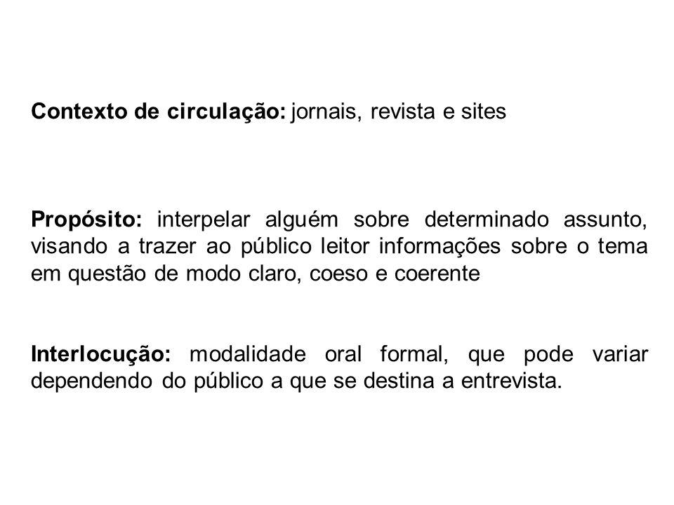 Contexto de circulação: jornais, revista e sites Propósito: interpelar alguém sobre determinado assunto, visando a trazer ao público leitor informaçõe