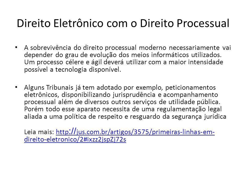 Direito Eletrônico com o Direito Processual A sobrevivência do direito processual moderno necessariamente vai depender do grau de evolução dos meios informáticos utilizados.