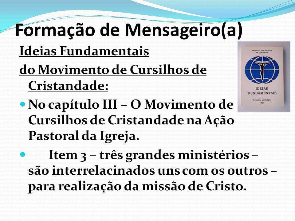 Formação de Mensageiro(a ) Ideias Fundamentais do Movimento de Cursilhos de Cristandade: No capítulo III – O Movimento de Cursilhos de Cristandade na