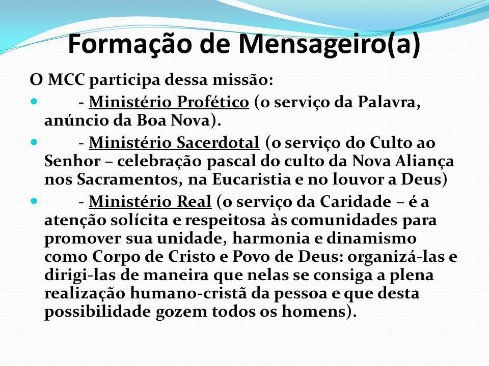 Formação de Mensageiro(a) O MCC participa dessa missão: - Ministério Profético (o serviço da Palavra, anúncio da Boa Nova). - Ministério Sacerdotal (o