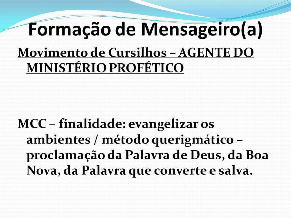 Formação de Mensageiro(a) Movimento de Cursilhos – AGENTE DO MINISTÉRIO PROFÉTICO MCC – finalidade: evangelizar os ambientes / método querigmático – p