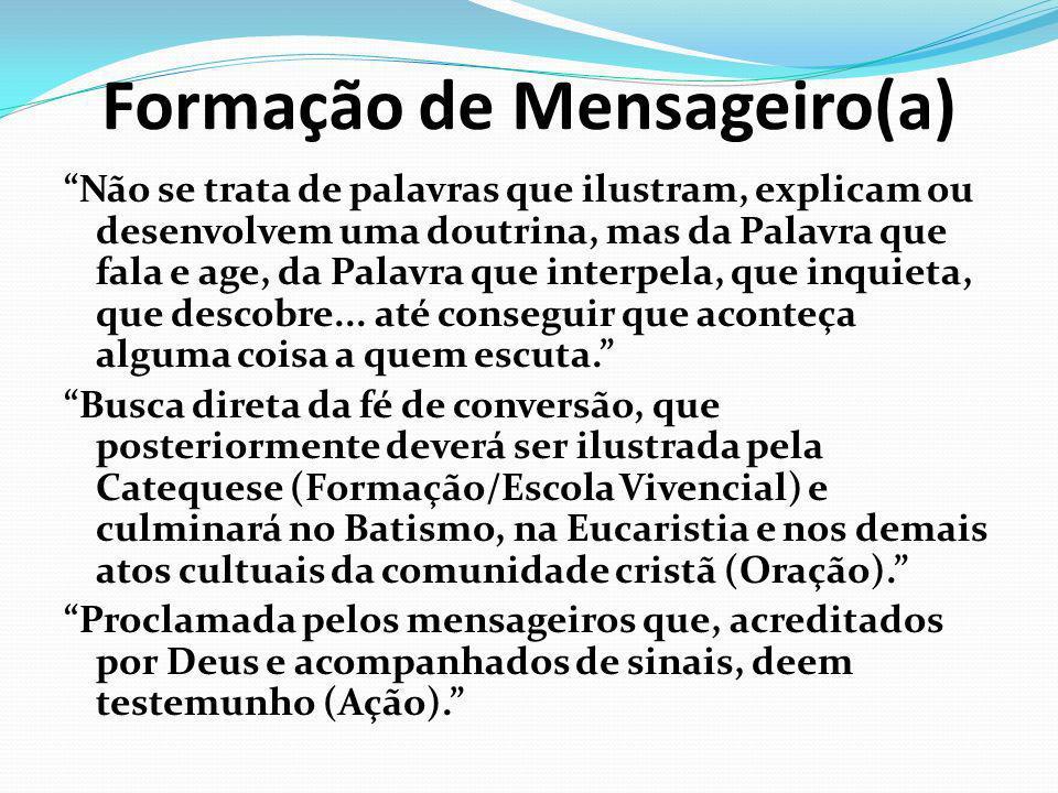Formação de Mensageiro(a) Não se trata de palavras que ilustram, explicam ou desenvolvem uma doutrina, mas da Palavra que fala e age, da Palavra que i