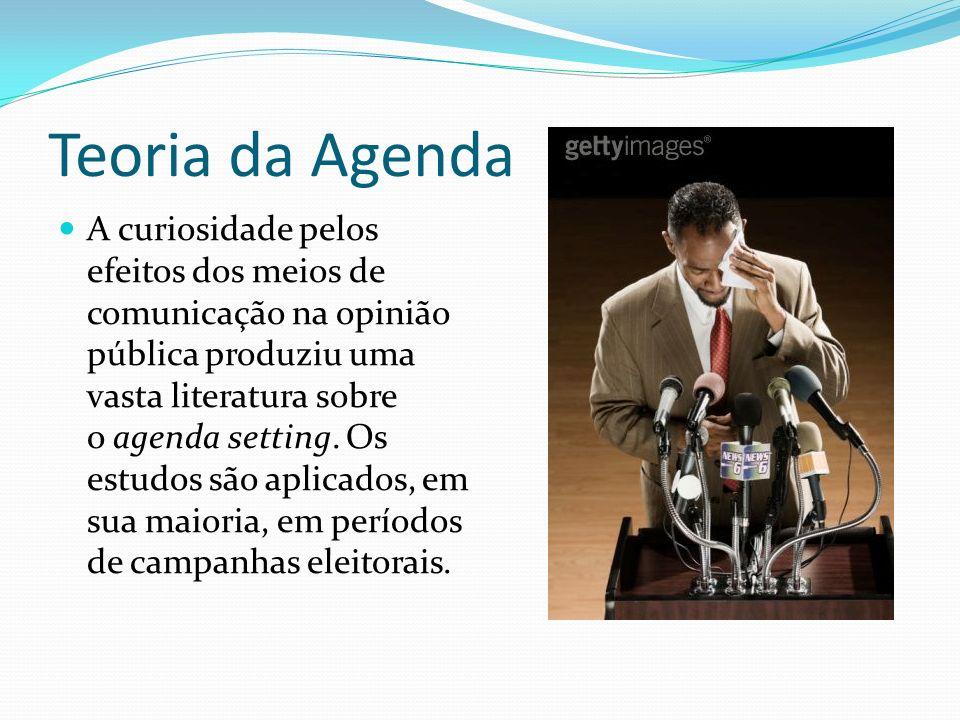 Teoria da Agenda A curiosidade pelos efeitos dos meios de comunicação na opinião pública produziu uma vasta literatura sobre o agenda setting. Os estu