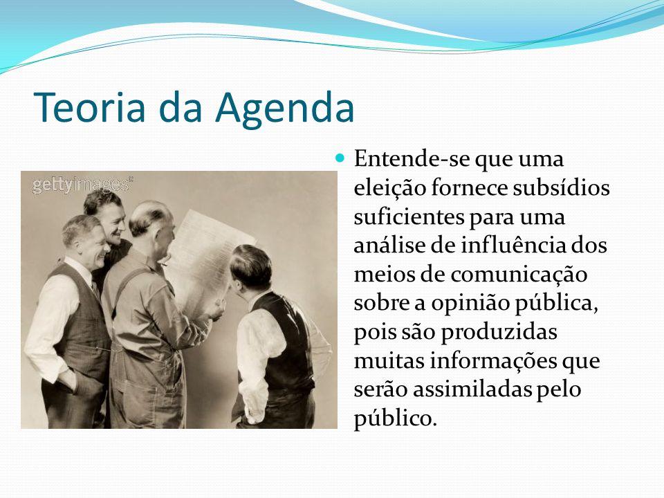 Teoria da Agenda Entende-se que uma eleição fornece subsídios suficientes para uma análise de influência dos meios de comunicação sobre a opinião públ